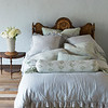 Helane Deluxe Sham in Thyme, Linen Whisper Euro Shams in Cloud, Olivia Pillowcases in Cloud over Linen Pillowcases in Thyme, Helane Kidney Pillow in Thyme, Olivia Bolster in Thyme over Linen Bolster in Cloud, Linen Whisper Duvet Cover in Cloud, Linen Bed Skirt in Thyme