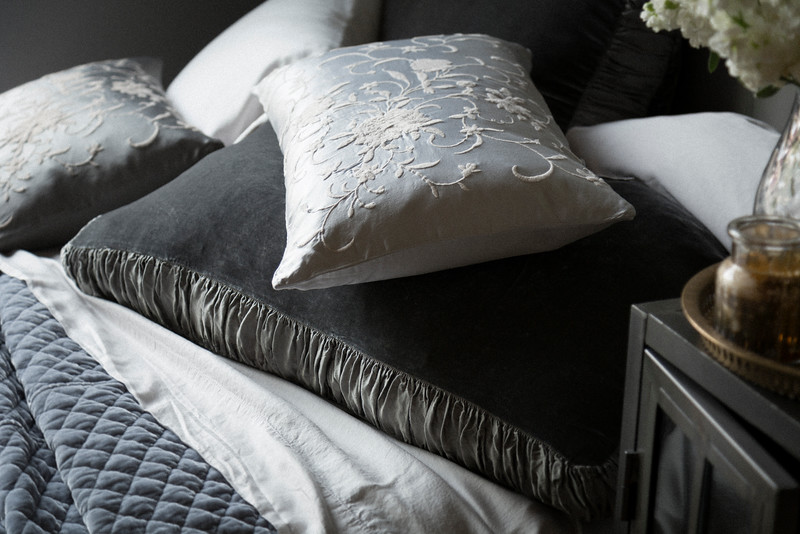 Sloan Deluxe Sham in Fog, Madera Pillowcases in Pebble, Josephine Accent Pillow in Pebble, Josephine Accent Pillow in Fog, Madera Flat Sheet in Pebble, Silk Velvet Quilted Coverlet in Pebble