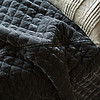 Silk Velvet Quilted Coverlet in Fog, Arielle Accent Pillow in Fog