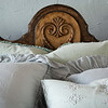 Helane Deluxe Sham in Thyme, Linen Whisper Euro Shams in Cloud, Olivia Pillowcases in Cloud over Linen Pillowcases in Thyme