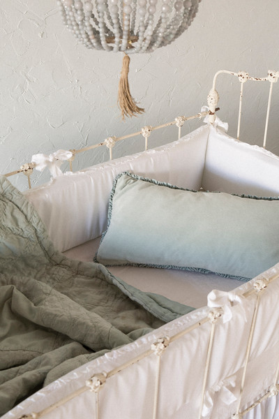 Helane Bumper in White, Linen Crib Sheet in White, Helane Kidney Pillow in Thyme, Emerson Baby Comforter in Thyme