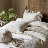 Isabella Euro Shams in Champagne, Isabella Pillowcases in Winter White, Lillian Pillowcases in Champagne, Helane Kidney Pillow in Champagne, Olivia Bolster in Sand over Linen Bolster in Champagne, Isabella Flat Sheet in Winter White, Isabella Duvet Cover in Champagne