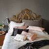 Helane Deluxe Sham in French Grey, Isabella Pillowcase in Pebble, Satin Pillowcase with Venise Lace in Heirloom Rose, Helane Kidney Pillow in Heirloom Rose,  Sloan Accent Pillow in French Grey, Sloan Accent Pillow in Heirloom Rose, Olivia Boudoir in Pebble over Linen Boudoir Liner in Heirloom Rose, Isabella Flat Sheet in Pebble, Isabella Duvet Cover in Fog, Sloan Large Throw in French Grey
