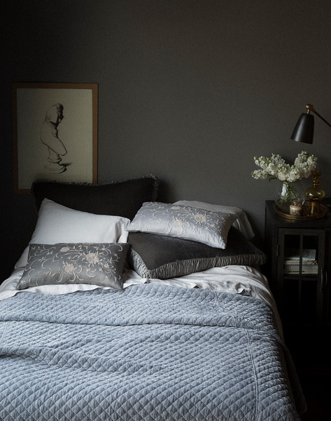 Sloan Deluxe Shams in Fog, Madera Pillowcases in Pebble, Josephine Accent Pillow in Pebble, Josephine Accent Pillows in Fog, Madera Flat Sheet in Pebble, Silk Velvet Quilted Coverlet in Pebble