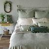 Florence Euro Shams with Flange In Thyme, Isabella Pillowcases in Winter White, Isabella Fitted Sheet in Winter White, Isabella Flat Sheet in Winter White, Isabella Kidney Pillow in Thyme, Loulah Kidney Pillow in Thyme, Florence Coverlet with Flange in Thyme, Linen Bed Skirt in Winter White