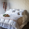 Persephone Euro Shams, King Shams, Accent Pillow and King Duvet Cover in White, Olivia Bed Throw in Pearl, Satin King Bed Skirt in White
