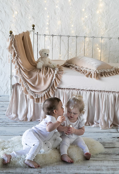 All in Pearl: Loulah Baby Blanket, Loulah Kidney Pillow, Linen Crib Sheet, Satin Crib Skirt