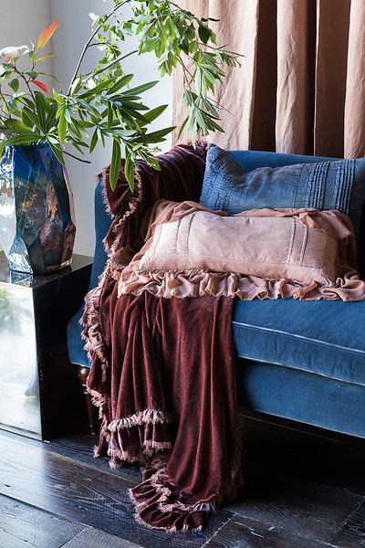 Loulah Throw Blanket in Rosegold, Arielle Accent Pillow in Midnight, Valentina Kidney Pillow in Rosegold