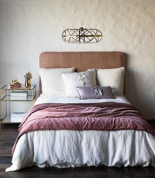Helane Euro Shams in Champagne, Helane Kidney Pillow in Powder, Linen Queen Duvet Cover in Champagne, Helane Personal Comforter in Rosegold