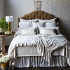 All in Winter White: Vienna Royal Shams, Persephone Euro Shams, Carmen Lumbar Pillows, Josephine Accent Pillows, Vienna King Coverlet, Persephone King Duvet Cover, Sloan Throw Blanket, Satin King Bed Skirt