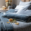 All in Mineral: Vienna Royal Shams, Satin with Venise Lace King Pillowcases, Carmen Lumbar Pillows, Vienna King Duvet Cover, Carmen Personal Comforter