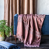Valentina Kidney Pillow in Midnight, Satin with Venise Lace Wedding Blanket in Rosegold