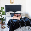 Seville Deluxe Shams in Mineral, Linen Standard Shams in Mineral, Satin with Venise Lace Lumbar Pillow in Midnight, Sloan Kidney Pillow in Rosegold, Arielle Accent Pillow in Rosegold, Seville Queen Bedspread in Mineral, Linen Queen Sheets in Mineral, Loulah Wedding Blanket in Midnight