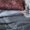 Olivia Pillowcases in Fog over Satin with Venise Lace Pillowcases in Pearl, Josephine Accent Pillows in Rosegold, Isabella Queen Duvet Cover in Fog, Satin with Venise Lace Personal Comforter in Fog