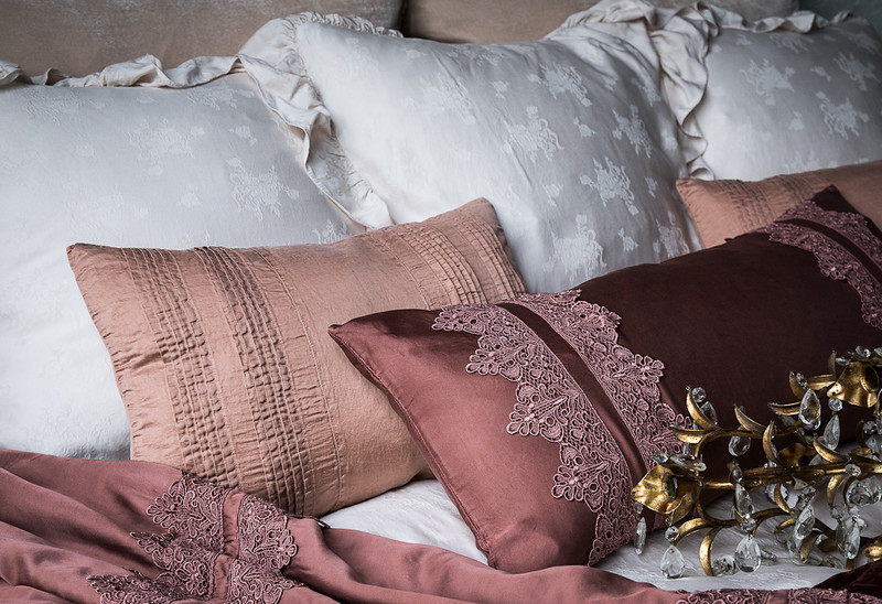 Carmen Royal Shams in Pearl, Isabella Euro Shams in Pearl, Arielle Accent Pillows in Rosegold, Satin with Venise Lace Lumbar Pillow in Rosegold, Isabella Queen Duvet Cover in Pearl, Satin with Venise Lace Personal Comforter in Rosegold
