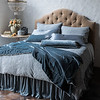 All in Mineral: Vienna Royal Shams, Satin with Venise Lace King Pillowcases, Carmen Lumbar Pillows, Madera Luxe King Sheets, Vienna King Duvet Cover, Carmen Personal Comforter, Satin King Bed Skirt