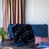 Loulah Wedding Blanket in Midnight, Satin with Venise Lace Lumbar Pillow in Rosegold, Arielle Accent Pillow in Midnight, Carmen Lumbar Pillow in Rosegold