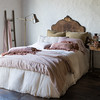 Carmen Euro Shams in Sand, Satin with Venise Lace Lumbar Pillow in Sand, Josephine Pillowcase in Heirloom Rose, Helane Kidney Pillow in Heirloom Rose, Valentina Kidney Pillows in Rosegold, Isabella Duvet Cover in Sand, Carmen Personal Comforter in Pearl