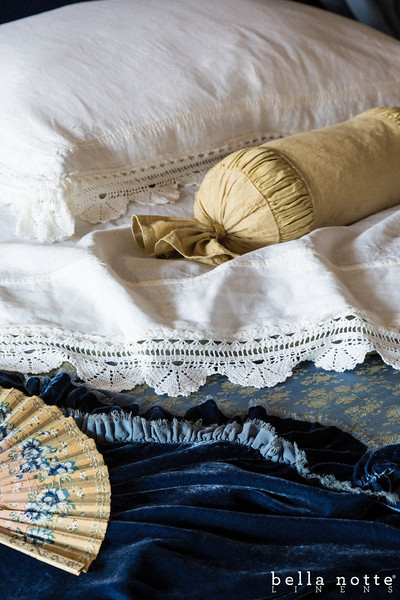 Linen with Crochet Lace Deluxe Sham in White, Celeste Neckroll in Ginger, Linen with Crochet Lace Flat Sheet in White, Colette Duvet Cover in Wedgwood, Loulah Throw Blanket in Wedgwood