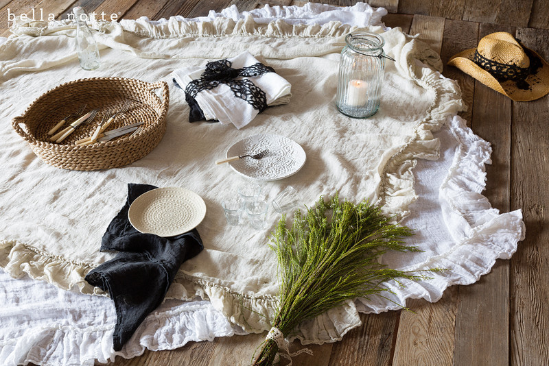 Linen Whisper Tablecloths in Sand and White, Homespun Napkins in White, Sand, and Ebony