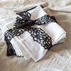Homespun Napkins in White, Sand, and Ebony, Linen Whisper Tablecloths in Sand and White