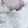 Pennelope Bumper in White, Trecento Crib Sheet in White, Olivia Boudoir in Powder over Linen Boudoir Liner in White, Pennelope Boudoir in Powder, Pennelope Baby Blanket in Pebble