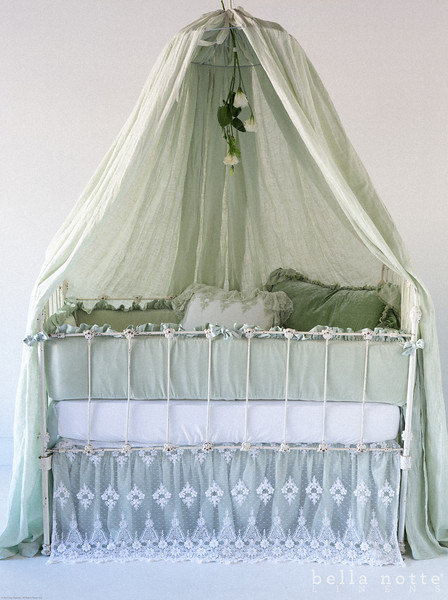 Velvet with Satin Bumper in Mint Julep, Satin Baby Dust Ruffle in Mint Julep, Olivia Baby Dust Ruffle in White,<br /> Trecento Crib Sheet in White, Olivia Boudoir in Mint Julep over Linen Boudoir Liner in White, Loulah Kidney Pillow in Mint Julep