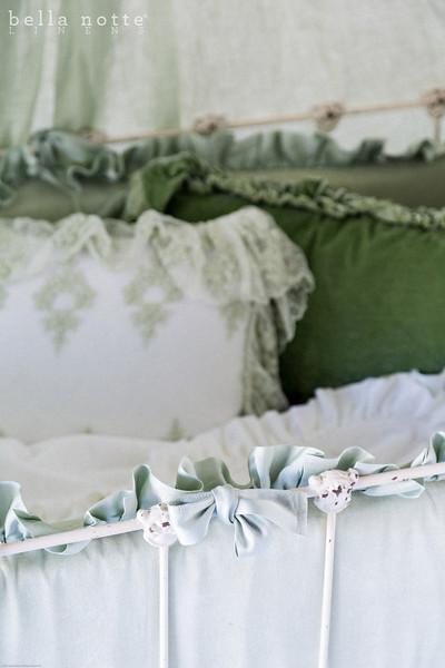 Velvet with Satin Bumper in Mint Julep, Olivia Boudoir in Mint Julep over Linen Boudoir Liner in White, Loulah Kidney Pillow in Mint Julep