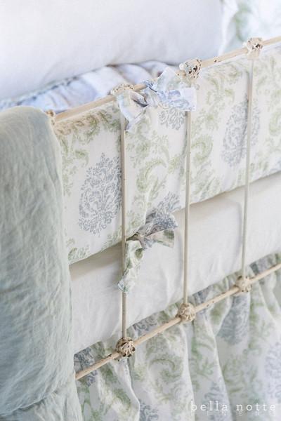 Zia Crib Bumper in Cool, Zia Baby Dust Ruffle in Cool, Linen Crib Sheet in White, Linen Whisper Baby Blanket in Seaglass, Linen Whisper Kidney Pillow in White