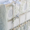 Zia Crib Bumper in Cool, Zia Baby Dust Ruffle in Cool, Linen Crib Sheet in White, Linen Whisper Baby Blanket in Seaglass, Linen Whisper Kidney Pillow in White