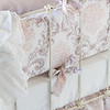 Zia Crib Bumper in Warm, Zia Baby Dust Ruffle in Warm, Linen Crib Sheet in White, Linen Whisper Baby Blanket in White, Valentina Kidney Pillow in Perfect Peach