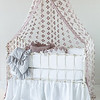 Pennelope Bumper in White, Trecento Crib Sheet in White, Pennelope Dust Ruffle in White, Olivia Boudoir in Powder over Linen Boudoir Liner in White, Pennelope Boudoir in Powder, Pennelope Baby Blanket in Pebble,<br /> Olivia Yardage with Scalloped Edge in Powder