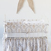 Zia Crib Bumper in Natural, Zia Baby Dust Ruffle in Natural, Linen Crib Sheet in White, Linen Whisper Kidney Pillow in White