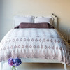 Linen Queen Duvet Cover in White, Olivia Queen Coverlet in Powder, Linen Standard Shams in White, Linen Queen Fitted Sheet in White, Linen Queen Flat Sheet in White, Loulah Bolster in Powder