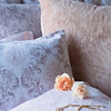 Zia Deluxe Shams in Warm, Hendrix Euro Sham in Perfect Peach, Hendrix Euro Sham in Powder, Zia Standarad Pillowcases in Warm, Satin Standard Pillowcase in Petal, Hendrix Throw Pillow in Petal