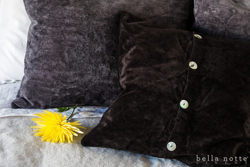 Hendrix Queen Coverlet in Pebble, Hendrix Standard Shams in Graphite, Hendrix Throw Pillow in Ebony