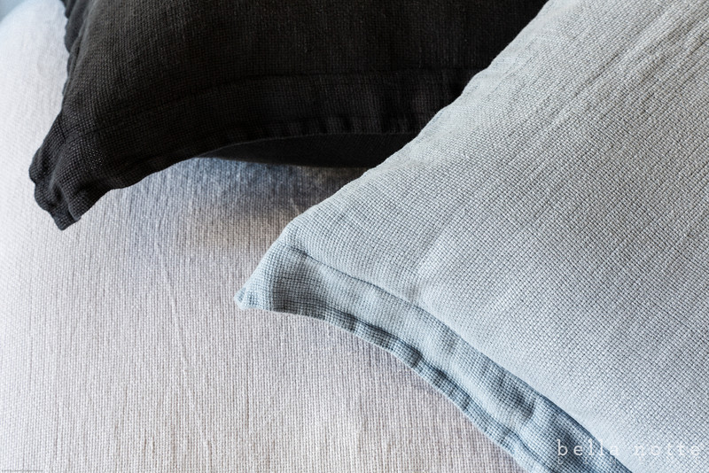 Homespun Twin Duvet Cover in Pebble, Homespun Euro Sham with flange in Wedgwood, Linen Standard Sham in Graphite