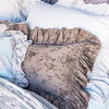 Hendrix Standard Shams in Powder, Linen Whisper Standard Shams in Pebble, Pennelope Boudoir in Sable, Olivia Boudoir in Powder over Linen Boudoir in Silvermist, Olivia Queen Coverlet in Powder