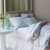 Zia Queen Duvet Cover in Cool, Zia Deluxe Sham in Cool, Linen Euro Sham in Mint Julep, Homespun Euro Sham in Mint Julep, Hendrix Standard Sham in Mint Julep, Linen Curtains in Mint Julep, Linen Queen Fitted Sheet in White, Linen Queen Flat Sheet in White, Linen Queen Dust Ruffle in White