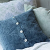 Zia Deluxe Sham in Cool, Linen Euro Shams in Mint Julep, Hendrix Standard Sham in Mint Julep, Hendrix Throw Pillow in Wedgwood, Linen Fitted Sheet in White, Linen Flat Sheet in White, Zia Queen Duvet Cover in Cool