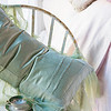 Pennelope Queen Duvet Cover in Petal, Hendrix Deluxe Shams in Sand, Celeste Deluxe Shams in Sand, Pennelope Euro Shams in Petal, Madera Queen Fitted Sheet in Sand, Madera Queen Flat Sheet in Sand, Valentina Kidney Pillow in Mint Julep