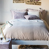 Madera Queen Duvet Cover in Flax, Madera Queen Fitted Sheet in Champagne, Madera Queen Flat Sheet in Champagne, Madera Deluxe Shams in Powder, Madera Standard Pillowcases in Champagne, Hendrix Standard Shams in Powder, Hendrix Throw Pillow in Champagne