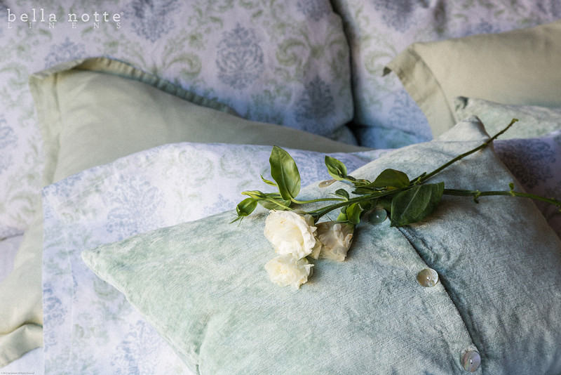 Zia Deluxe Shams in Cool, Linen Euro Shams in Mint Julep, Hendrix Standard Sham in Mint Julep, Zia Pillowcases in Cool