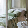 Loulah Body Pillow in Mint Julep, Valentina Deluxe Shams in White, Valentina Standard Shams in Mint Julep, Loulah Bolster in Mint Julep, Linen Queen Duvet Cover in White, Valentina Personal Comforter in Mint Julep, Valentina Curtain Panels in Mint Julep, Madera Queen Fitted Sheet in White, Madera Queen Flat Sheet in White, Valentina Queen Dust Ruffle in White