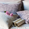 Madera Queen Duvet Cover in Flax, Madera Queen Madera Queen Flat Sheet in Champagne, Madera Deluxe Shams in Powder, Madera Standard Pillowcases in Champagne, Hendrix Standard Shams in Powder, Hendrix Throw Pillow in Champagne