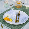 Olivia Tablecloth in Seaglass over Linen Crochet Lace Tablecloth in Mint Julep, Silk Velvet Quilted Placemat in Mint Julep, Zia Napkin in Cool