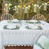 Olivia Tablecloth in Seaglass over Linen Crochet Lace Tablecloth in Mint Julep, Silk Velvet Quilted Placemats in Mint Julep, Linen Whisper Napkins in Mint Julep, Loulah Kidney Throw Pillow in Mint Julep