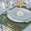 Olivia Tablecloth in Seaglass over Linen Crochet Lace Tablecloth in Mint Julep, Silk Velvet Quilted Placemat in Mint Julep, Linen Whisper Napkin in Mint Julep