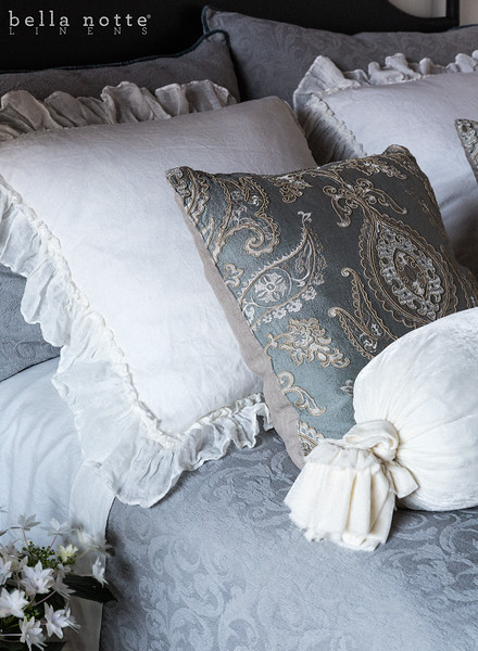 Adele Deluxe Shams in Mineral, Linen Whisper Euro Shams in Winter White, Nina Square Throw Pillows in Cool, Adele Queen Coverlet in Mineral, Madera Queen Fitted Sheet in Winter White, Madera Queen Flat Sheet in Winter White