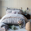 Gabriella Euro Shams in Mineral, Emma Standard Pillowcases in Pebble, Gabriella Standard Pillowcase Pebble, <br /> Hayden Standard Sham in Mineral, Linen with Crochet Lace Kidney Pillow in Mineral, Linen with Crochet Lace Kidney Pillow in Powder, Linen with Crochet Lace Standard Pillowcases in Pebble, Linen with Crochet Lace Queen Flat Sheet in Pebble, Linen Queen Fitted Sheet in Pebble, Emma Queen Duvet Cover in Pebble, Hayden Duvet Cover in Mineral